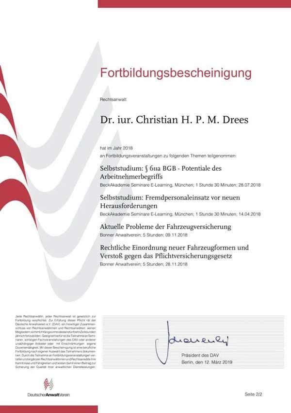 Forbildungsbescheinigung Deutscher Anwaltverein Jahr 2018