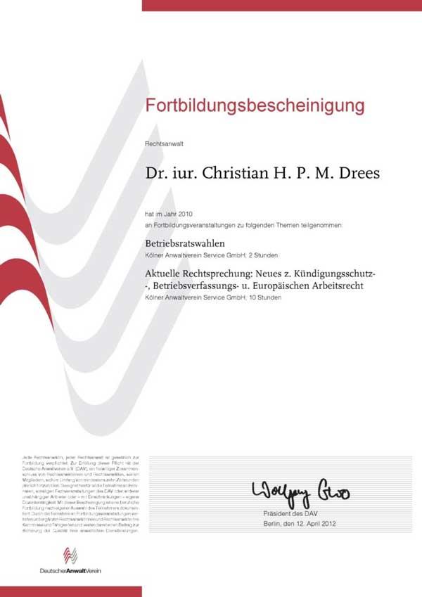 Forbildungsbescheinigung Deutscher Anwaltverein Jahr 2010