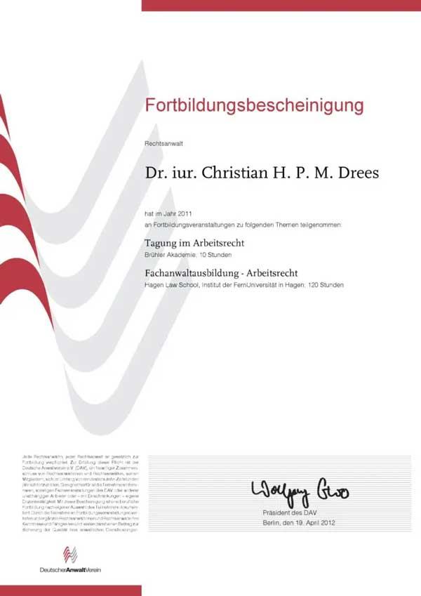 Forbildungsbescheinigung Deutscher Anwaltverein Jahr 2011