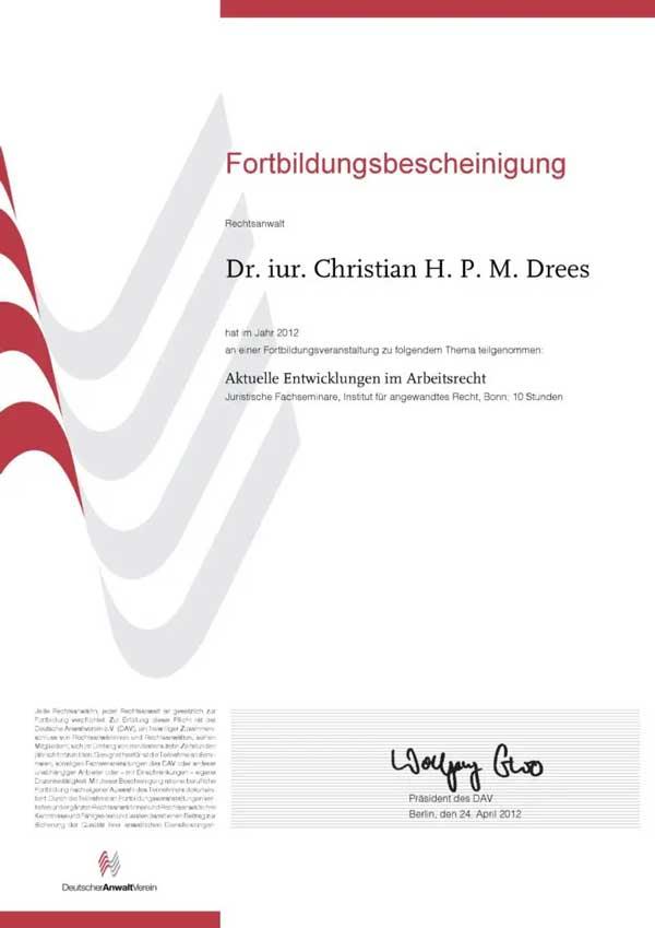 Forbildungsbescheinigung Deutscher Anwaltverein Jahr 2012
