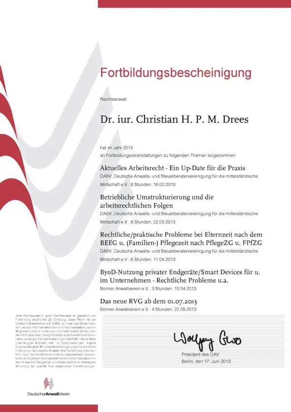 Forbildungsbescheinigung Deutscher Anwaltverein Jahr 2013