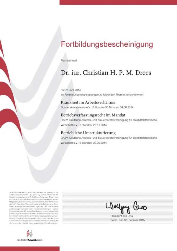 Forbildungsbescheinigung Deutscher Anwaltverein Jahr 2014