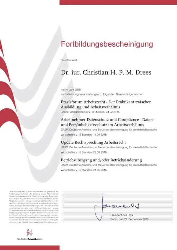 Forbildungsbescheinigung Deutscher Anwaltverein Jahr 2015