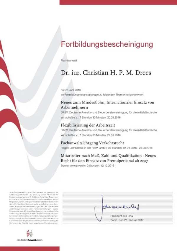 Forbildungsbescheinigung Deutscher Anwaltverein Jahr 2016