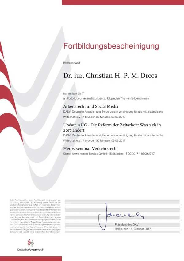 Forbildungsbescheinigung Deutscher Anwaltverein Jahr 2017