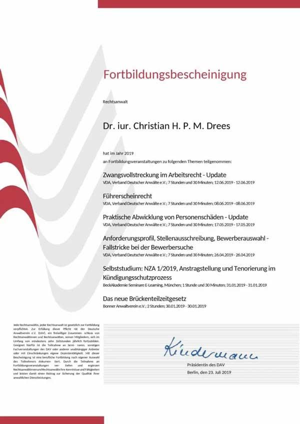 Forbildungsbescheinigung Deutscher Anwaltverein Jahr 2019 für Rechtsanwalt Dr. Drees aus Bonn